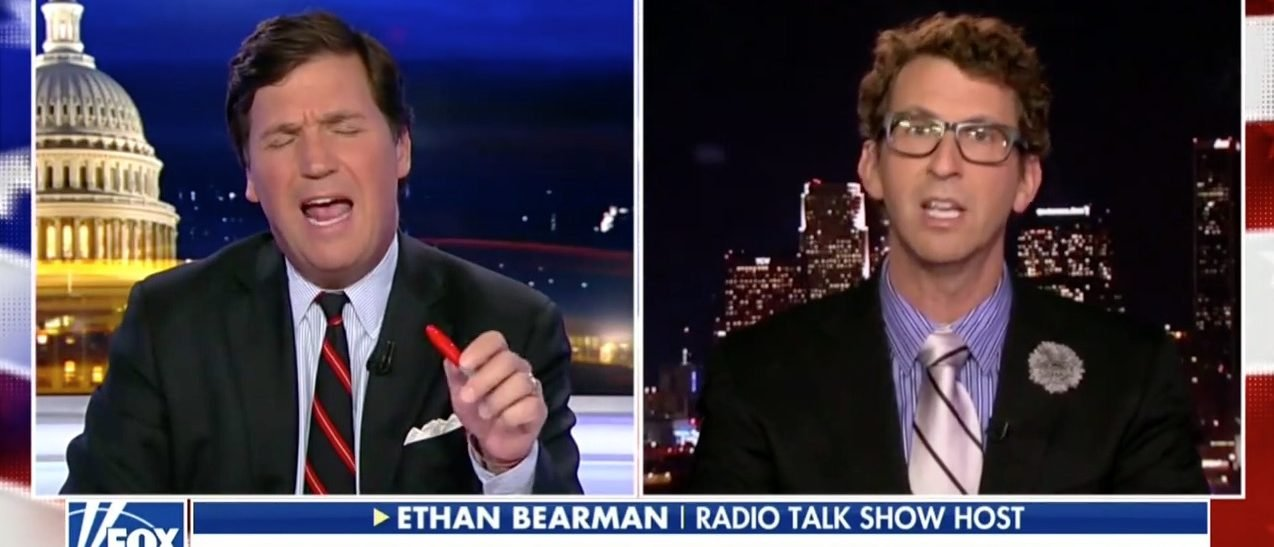 """Tucker Carlson debated radio host Ethan Bearman over the efficacy of new gun control regulation on Fox News Thursday night. The conversation opened with Carlson, a Daily Caller co-founder, saying """"wondering why there are no calls from the left to ask real questions about American culture and perhaps the collapse of family structure… or the …"""