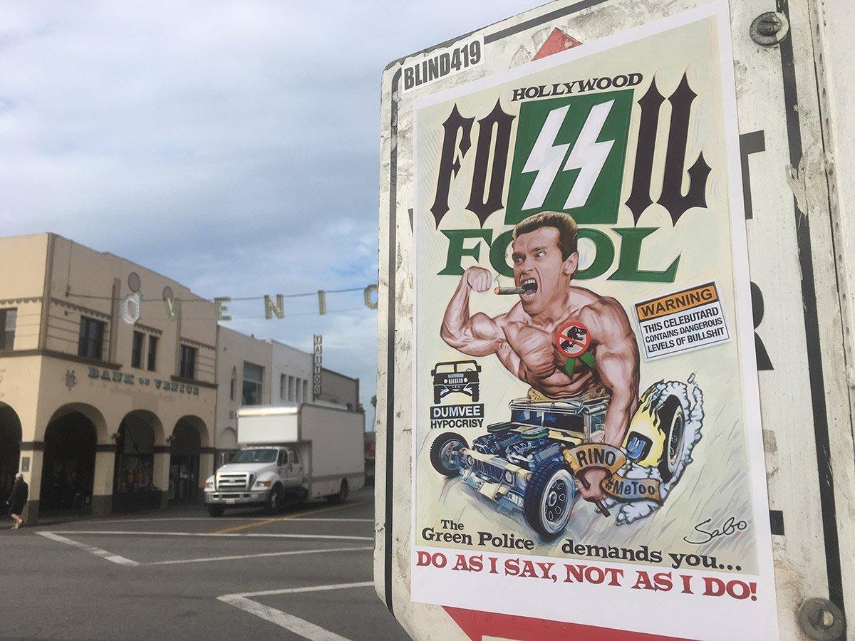 HollywoodFossilFool street art targeting gasguzzling Arnold Schwarzenegger appears in LA