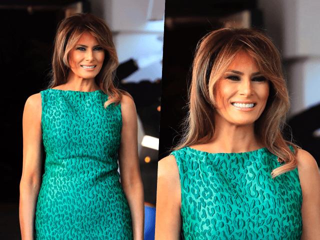 Melania Trump Celebrates Ireland in Emerald Green LeopardPrint Dress