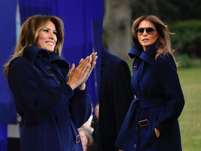Melania Trump Struts in Style Wearing Navy Coat KneeHigh Leather Boots