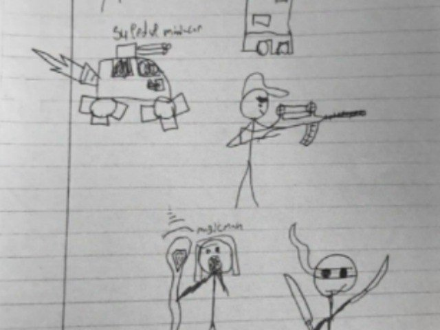 13YearOld Suspended for Drawing of Stick Figure Holding Gun