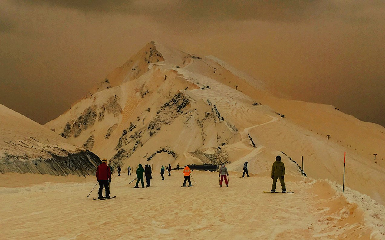 Freaky Orange Snow Pours Across Five Different Countries