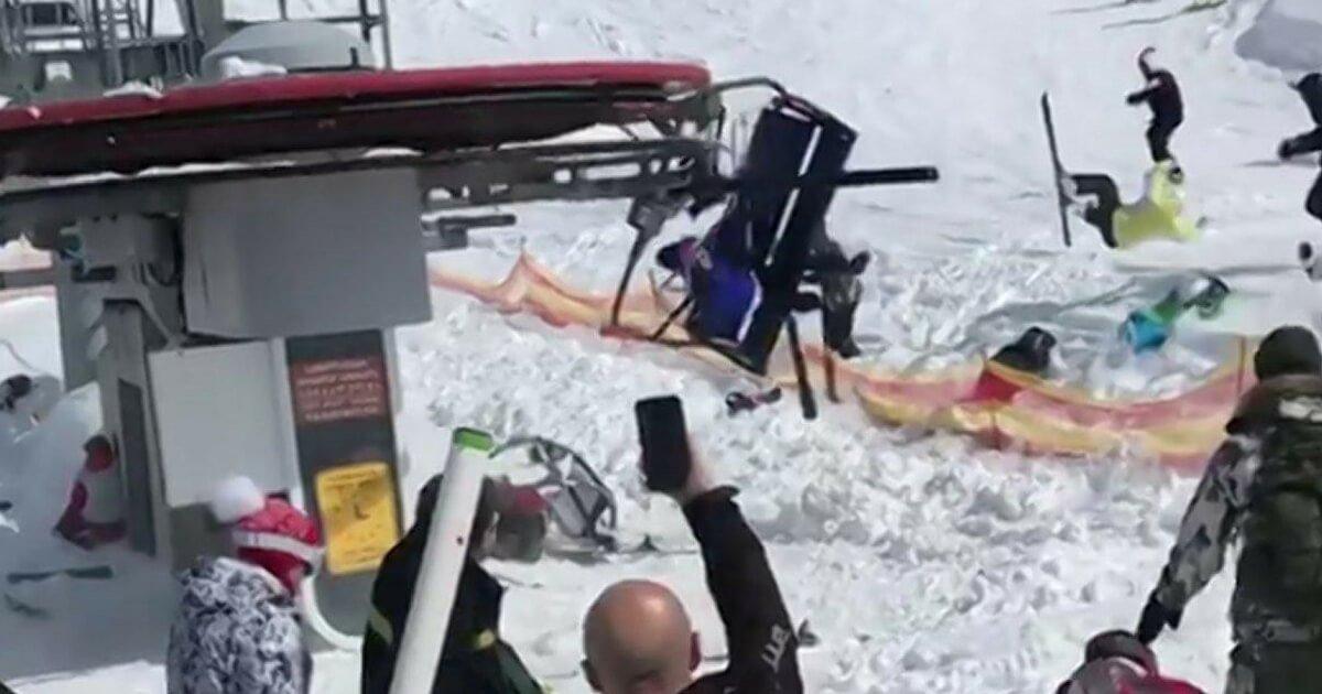 Horrifying Ski Lift Malfunction Causes Total Mayhem Tangled Pile of Steel and Bodies VIDEO